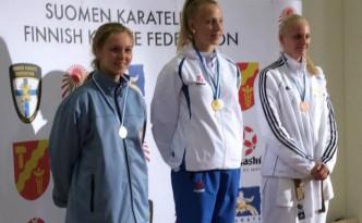 Sara Raftsjö från Västerås Karatecenter tog tredjeplacering på Finnish Open